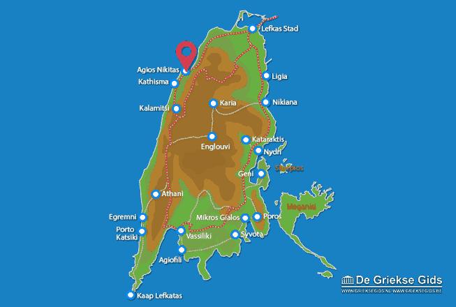 Map of Agios Nikitas