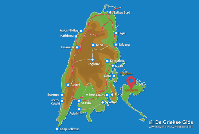 Map of Meganisi (island)