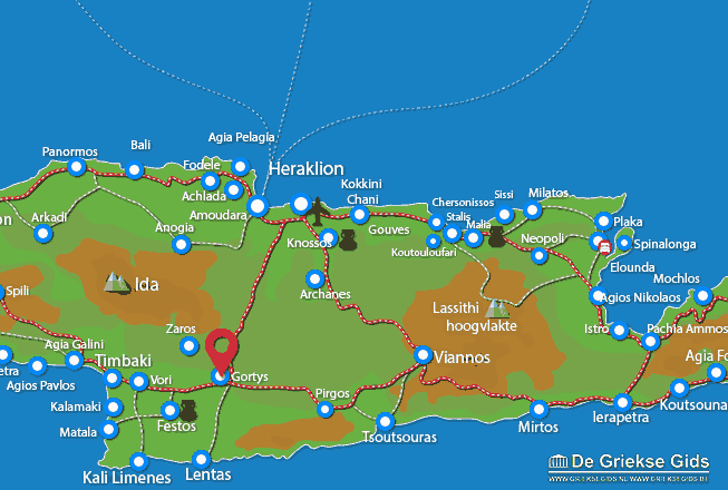 Map of Gortys