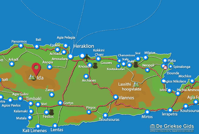 Map of Ida mountain