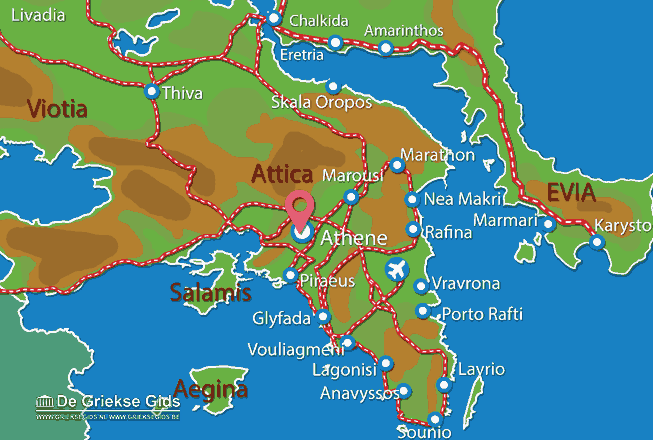 Map of Lycabetus Athens