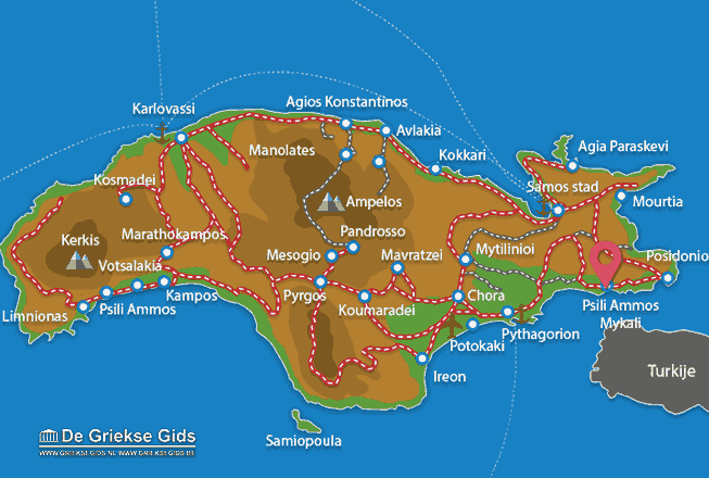 Map of Psili Ammos Mykali