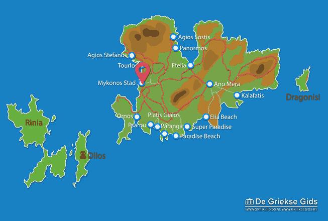 Map of Mykonos town
