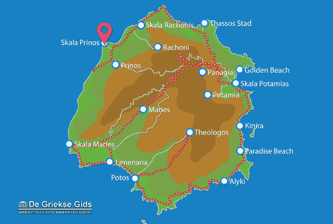 Map of Skala Prinos