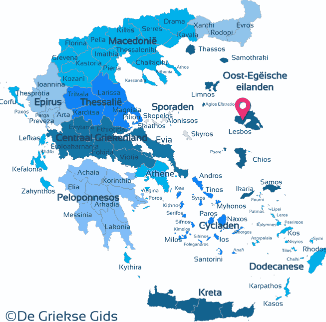 Map of North-Eastern Aegean Islands